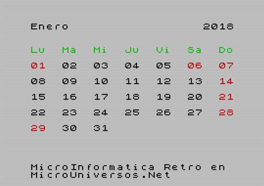 Retro Calendario 2018 ZX Spectrum Enero