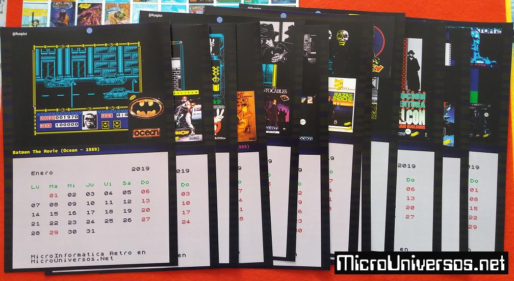 Calendario2019 Microuniversos.Net Clásicos Películas Cine Papel